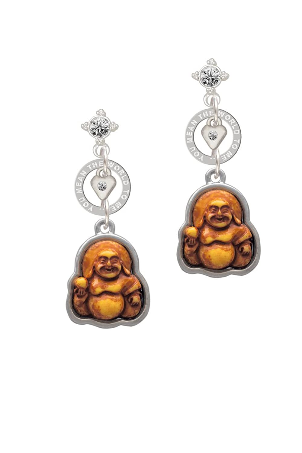 Resin Laughing Buddha in Frame - You Mean the World Eternity Earring