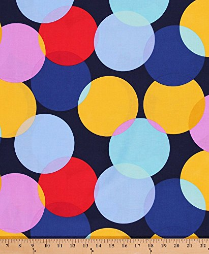 Paintbox Fabric (Cotton Paintbox Circles Circle Big Dots Yellow Blue Red Pink Cotton Fabric Print by the Yard (DC5859-NAVY-D))