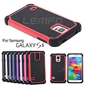 Deal4U Galaxy S5 Hybrid Rubber Rugged Combo Case Soft TPU with Hard Plastic Back Cover Cover For Samsung S 5 S V i9600 G900S i9500X #-# Color#=Red