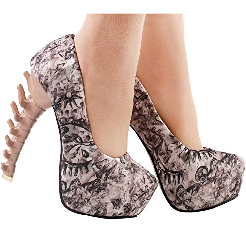 Skull Rose Story Ladies LF80610 Party Heel Bone Show Pumps Platform Brown Print Club qBAOtExEw
