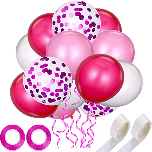 Tatuo 44 Pieces Pink Series Party Balloons Set Includes 40 Pieces 12 inch Latex Balloons Confetti Balloons, 2 Rolls Glue Points, 2 Rolls Ribbons for Party Decor (Pink Series)]()