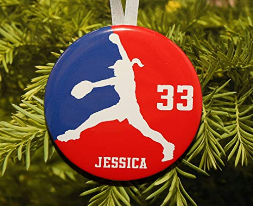 (Louis Girls Womens Softball Pitcher Silhouette Christmas Ornament Team Colors Customized)