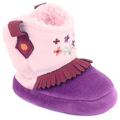 Wee Kids Baby Cowboy Boots For Girls Western Cowgirl Slippers Purple/Pink Small