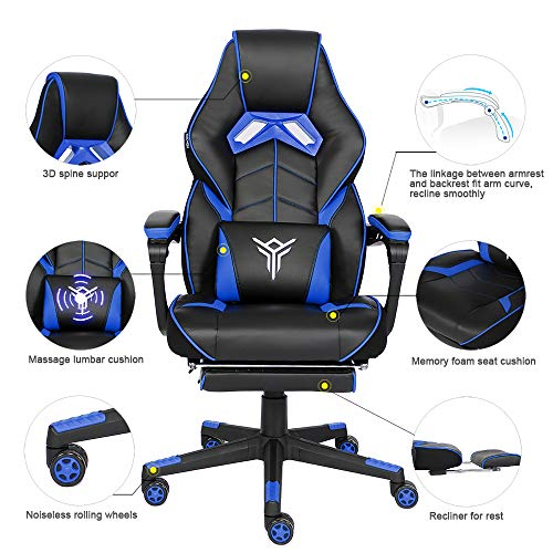 YOURLITEAMZ Racing Gaming Chair with Footrest and Massage Lumbar Pillow, Swivel Height Adjustable Reclining PU Leather Video Game Chair, E-Sports Gaming Chair Big and Tall (Blue)