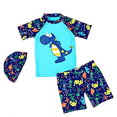 LOSORN ZPY Boys Two Piece Swimsuit Kids Dinosaur Bathing Suit With Hat