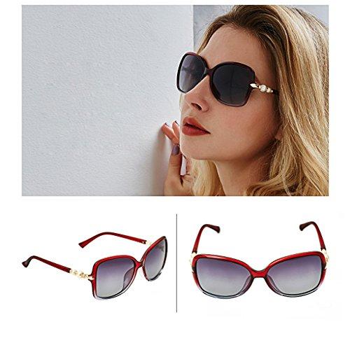de Gafas Pearl Purple Blue Conducción Gafas Sol Gafas Sol de Color Montura de Red Mujer de Grande polarizadas de TangMengYun Elegante de Sol O0RX5wxwBq