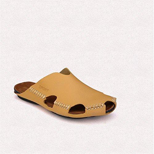 Heart&M Al aire libre talón plano de las mujeres ocasionales gruesa suela antideslizante zapatos zapatillas sandalias de playa Yellow