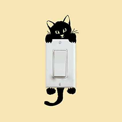 Amazon Com Hanbaili On Off Switch Stickers Cat Painting Printing