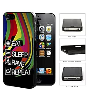 Eat Sleep Rave Repeat Hard Plastic Snap On Cell Phone Case Apple iPhone 4 4s