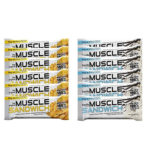 Muscle Foods Muscle Sandwich Bars, Variety Pack | Real Ingredients, Whey Protein Isolate, High Protein Bars, 2-Ounce Bars (12 Count)