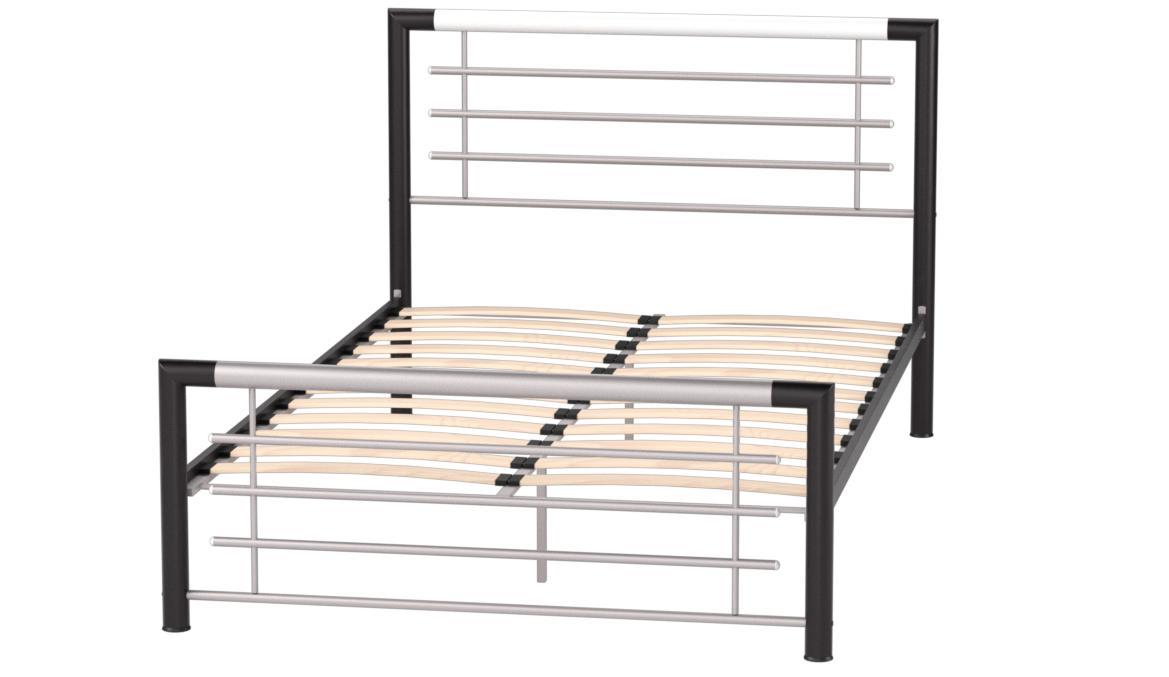 Birlea Happy Beds Faro Cama Individual, 90 cm Aprox, Metal, Plata y Negro, 4 pies