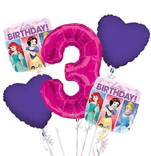 Princess Balloon Bouquet 3rd Birthday 5 pcs - Party Supplies -
