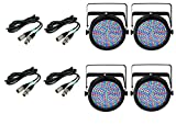 (4) Chauvet SlimPar 64 RGBA LED White Slim Par Can RGB Lights + 10' & 25' DMX Cables Bundle