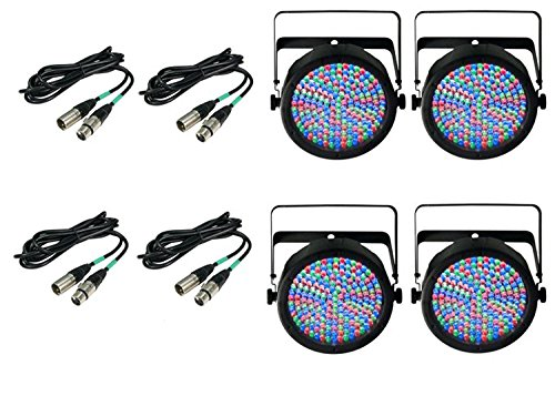 (4) Chauvet SlimPar 64 RGBA LED White Slim Par Can RGB Lights + 10' & 25' DMX Cables Bundle by CHAUVET DJ