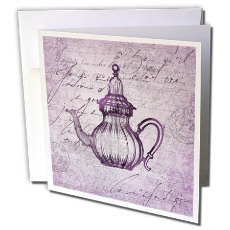 Carafe Art (3dRose Andrea Haase Art Illustration - Nostalgic Carafe Illustration In Pastel Faded Purple - 12 Greeting Cards with envelopes (gc_276288_2))