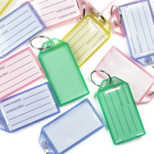 (Rienar 40 Pack Hard Plastic Coded ID Key Tags with Split Ring Holder Label Window, Assorted Colors)
