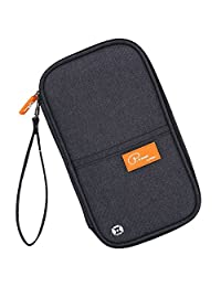 RFID Blocking Travel Passport Holder Wallet Travel Document Orgnazier Money Pouch with Hand Strap/Zipper of Waterproof/Durable Nylon for Women/Man/Traveling/Family(Black)