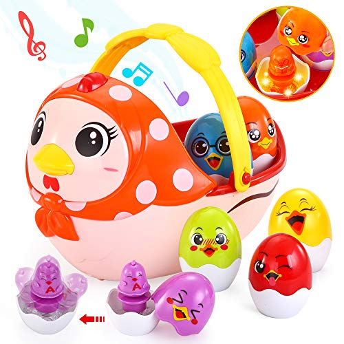 Baby Music Toy, Baby Einstein Toys with Melodies, Vatos Infant Toys for 12M - 16 M - 24M +, Multifunctional Learning Toys for Toddler | Plays Music | Color Changing Lights, Rolling Wheel | Easter Eggs -