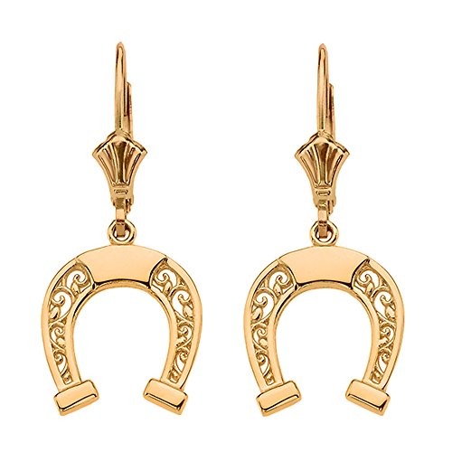 Solid 10k Yellow Gold Horseshoe Filigree-Style Leverback Earrings