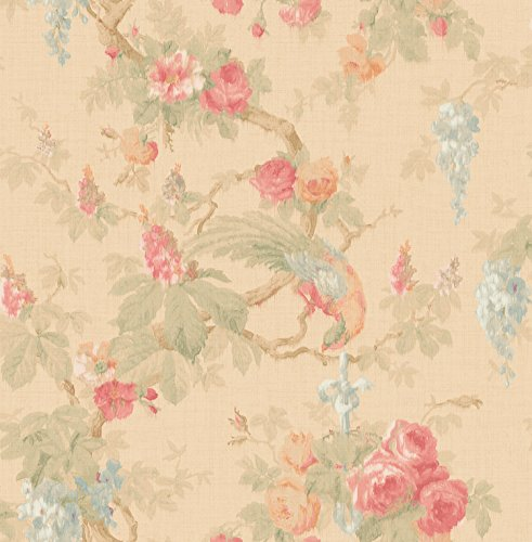 Mayflower Wallpaper Garden Linen Watercolor Rose Wisteria Blush Gold Blue Birds Double Roll Unpasted ()