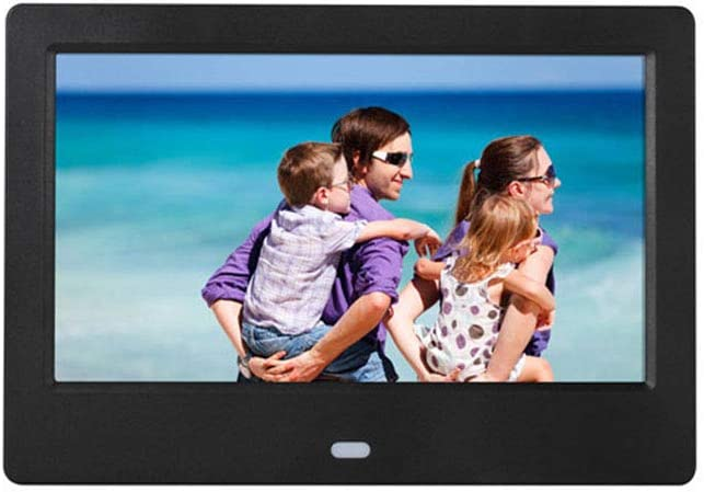 Alician 7 Inch HD LED Digital Screen Photo Frames 1024x600 Calendar//Alarm//Timer Switch//Video Player Black EU Plug