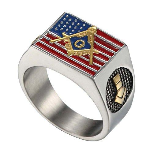 Mens Stainless Steel Colorful Epoxy American Flag Rings Freemasonry Masonic Logo Engraved (9)