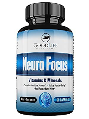 Neuro Focus Premium Brain Support Nootropic Supplement By GoodLife Nutrition – 60 Veggie Capsules – Enhances Memory, Focus & Mental Clarity – Advanced Formula With Vitamins