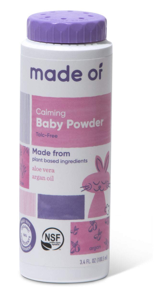 MADE OF Organic Baby Powder- Organic Corn Starch Baby Powder for Sensitive Skin and Eczema - NSF Organic Certified - Made in USA - 3.4oz (Fragrance Free, 1-Pack) by MADE OF