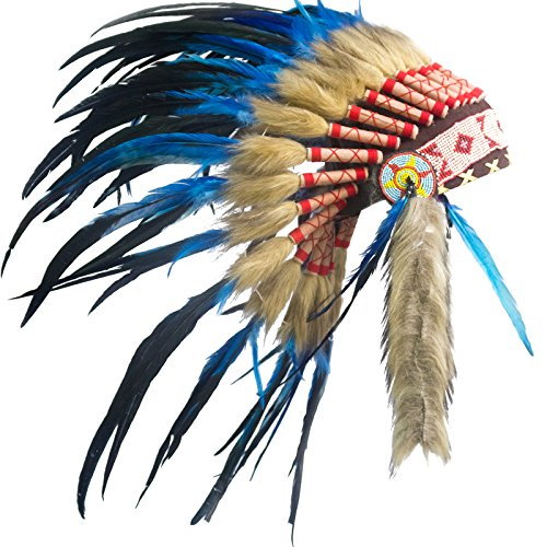 KIDS SIZE Feather Headdress - Adjustable - Native American Style - Dark Blue Rooster