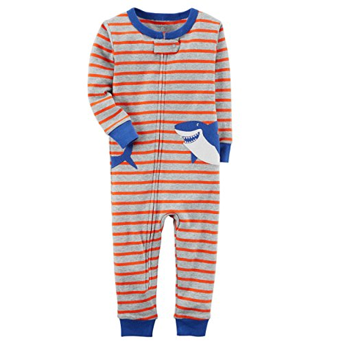 Carter's Little Boys' 1-Piece Snug Fit Footless Cotton Pajamas (4T, Striped (Jersey Striped Onesie)