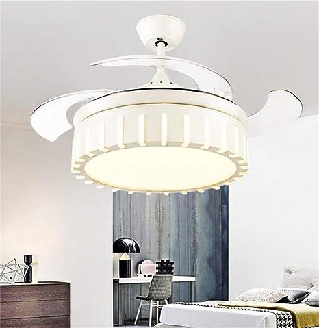 ZSC-1201- Ventilador Ventilador de Techo, LED Luz de Techo Cristal Luz Regulable Creativo Silencioso Invisible aspa del Ventilador Mini UFO 36W Control Remoto ...