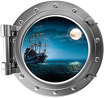 "12"" Port Scape Instant Sea Window View SHIP in MOONLIGHT #1 Pirate SILVER Porthole Wall Sticker Graphic Decal Home Kids Game Room Art Decor NEW"