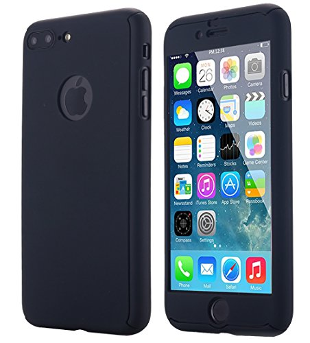 iPhone 7 Plus Case,AICase Ultra Thin Full Body Coverage Protection Soft PC [Dual Layer][Slim Fit] Case with Tempered Glass Screen Protector for iPhone 7 Plus (Black)