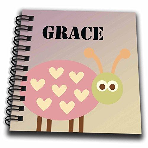 3dRose db_181254_3 Grace Pink Ladybug Girls Name-Mini Not...