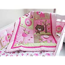 New Baby Girls Sweet Zoo Safari 9pcs Crib Cot Bedding Set with musical mobile