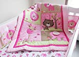 New Baby Girls Sweet Neutral Safari 7pcs Crib Cot Bedding Set