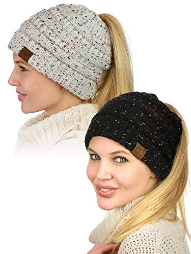 - C.C BeanieTail Soft Stretch Cable Knit Messy High Bun Ponytail Beanie Hat, 2 Pack, Confetti Black/Confetti Ivory