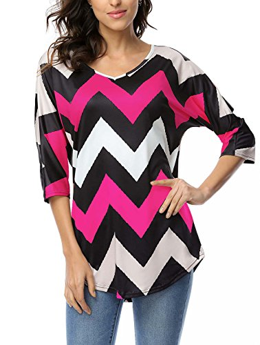 dreagal-woman-wavy-pattern-o-neck-3-4-batwing-sleeve-t-shirts-rose-red-large