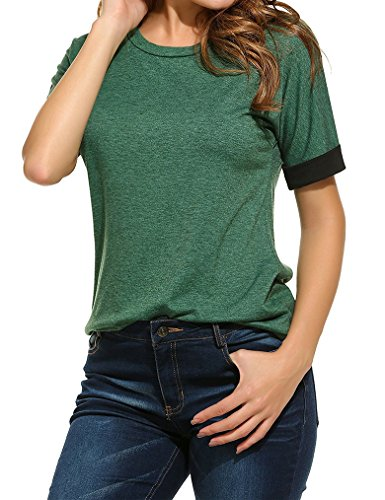 Over Junior Tee (Juniors O-Neck Roll Over Short Sleeve Solid Color T-Shirt Blouse)