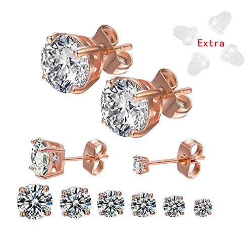24k Gold Set - 6 Pairs 18K Gold Plated Rose Gold Plated Silver Round Clear Cubic Zirconia Stud Earrings for Women Men(3-8MM)