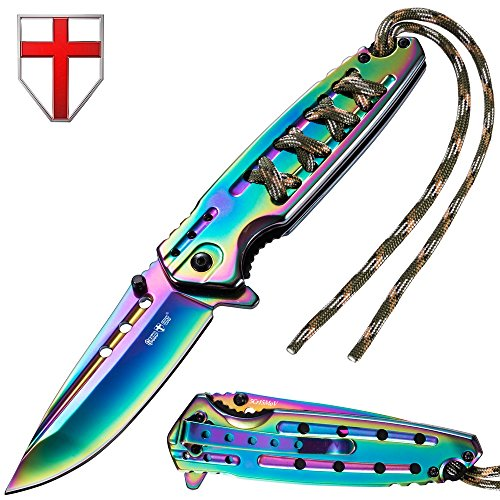 Grand Way Tactical Folding Knife - Spring Assisted Knife - EDC Outdoor Pocket Folding Knives Rainbow Stainless Steel Blade Paracord Handle - Best Urban Tourist Pocket Knife for Travel Hiking 24448 by Grand Way