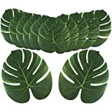 Vsiki 24PCS Artificial Fake Faux Palm Leaves, Tropical Simulation Leaf Decorations, Monstera Imitation Plant Decors for Bathr