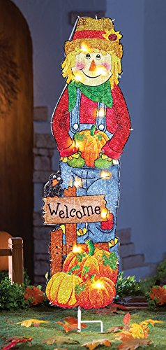 Whimsical Lighted Scarecrow & Pumpkins Fall Thanksgiving Autumn Garden Stake Decoration (Store Decorations)