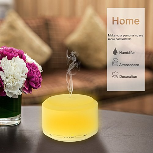 450ML Oil with LED Changing Lamps, Diffuser for Essential Oils with 4 Timer Settings Feature