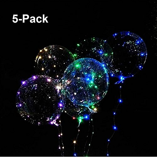 PartyEight 2018 Party Balloons LED Lights BoBo Bubble Balloon For Birthday Wedding Valentine Decoration - 10 Ft Transparent Colorful Flash String - Last 72 Hours [5 Packs]