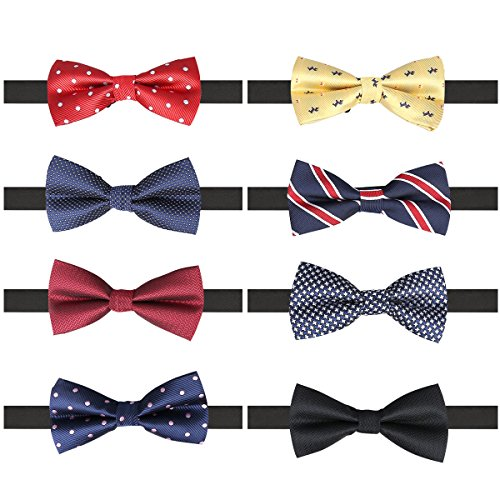 8 PACKS Adjustable Pre-tied Bow Ties, Elegant Bow Ties for Men Boys in Different Colors (A)