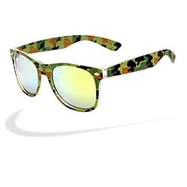 b7212b481f6 Image Unavailable. Image not available for. Color  Retro Camo Print Sunglasses  Wayfarer Style Camouflage Glasses
