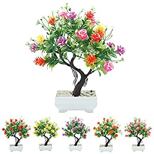 helegeSONG Fake Flowers Silk Plastic Artificial Plant 1Pc Potted Artificial Flower Tree Bonsai DIY Stage Garden Wedding Party Decor for Home,Office,Wedding,Garden, Gift, Desk, Hotel - Rose Red 3