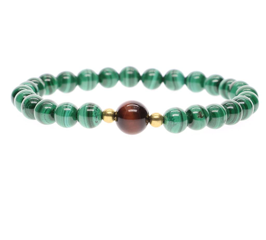 AmorWing Semi Precious Stones Malachite Tiger Eye Gems Beaded Bracelet for Women A062-6mm
