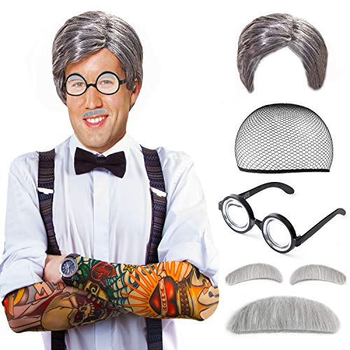 Beelittle Old Man Mad Scientist Wig Set Grandpa Costume - Wig, Eyebrows, Mustache, Glasses Set (A) -